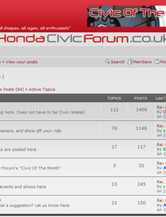 Honda Civic Forum website screenshot