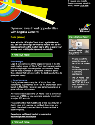 Legal & General HTML email screenshot