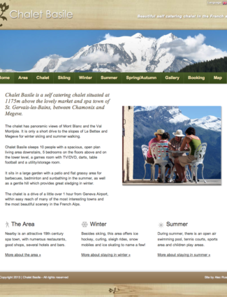 Chalet Basile website screenshot