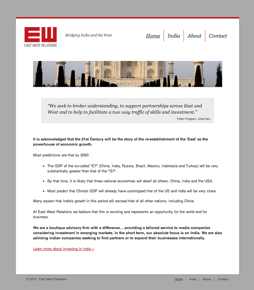 East West Relations website screenshot
