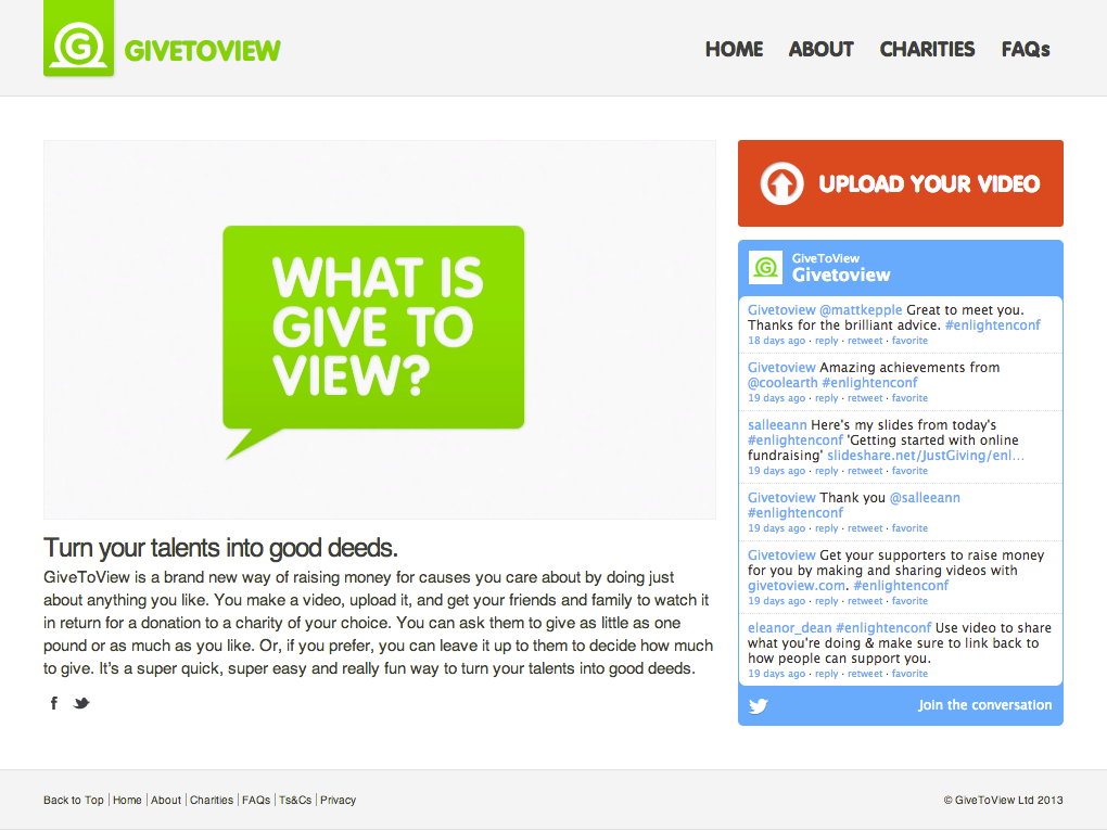 Give to View website screenshot